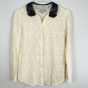 JACK WILLS Lace Long Sleeve Button Down Top